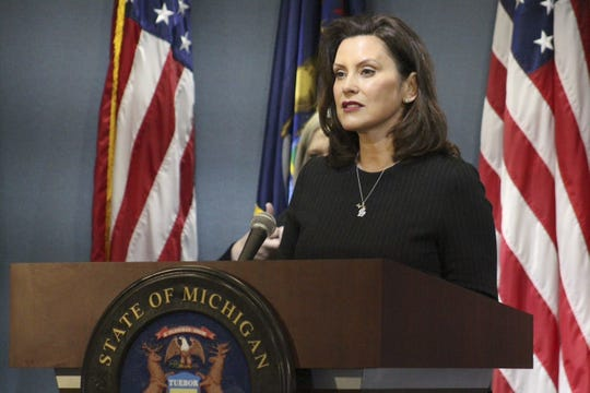 Gov. Gretchen Whitmer speaking at the COVID-19 news conference in Lansing Wednesday, April 29, 2020.