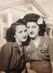 Lifelong friends Mary Hackett, left and Jessie Ancona from about 1944.
