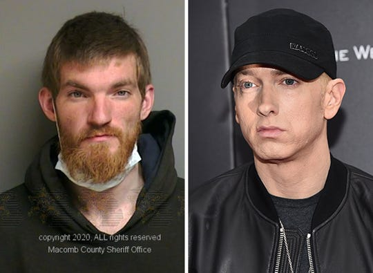 Left: Matthew David Hughes was arrested on April 5 in Clinton Township. Right: Eminem attends a New York premiere on July 20, 2015.