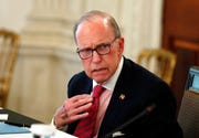 Larry Kudlow, White House chief economic adviser, listens during a roundtable with industry executives, in the State Dinning Room of the White House, Wednesday, April 29, 2020.