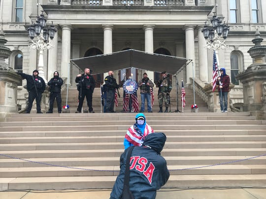 Protesters gathered at the Michigan Capitol on Thursday, April 30, 2020, to demonstrate against Gov. Gretchen  Whitmer's stay-at-home order.