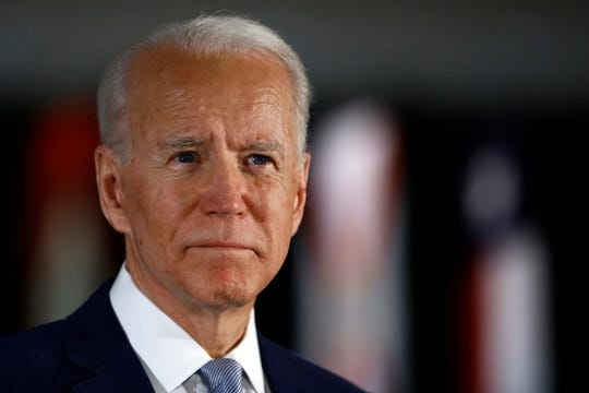 FILE - In this March 10, 2020, file photo Democratic presidential candidate former Vice President Joe Biden speaks to members of the press at the National Constitution Center in Philadelphia.