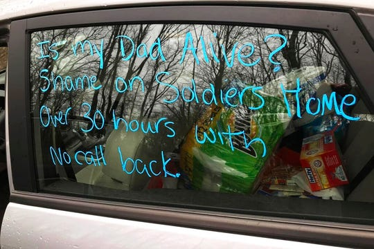 This recent provided by Susan Kenney shows a message written on the window of her car seeking information about her late father Charles Lowell, who had been residing at the Holyoke Soldiers' Home.