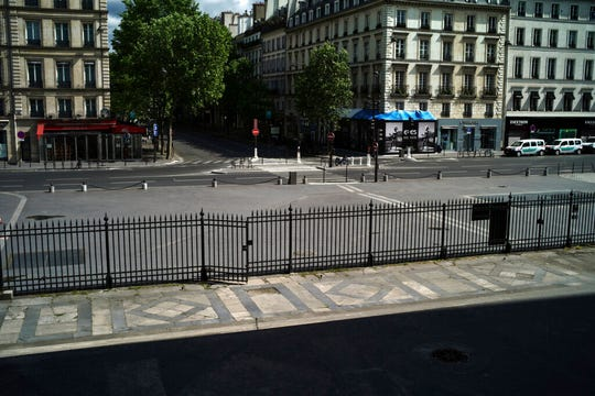 View of the empty square in front of the Madeleine church during nationwide confinement measures to counter the Covid-19, in Paris, Wednesday, April 29, 2020. France continues to be under an extended stay-at-home order until May 11.