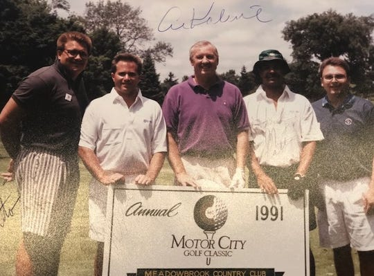 From left, Jim Epolito, Tim McGuire, Al Kaline, Jack Pitts and Joe Palamara at the 1991 Motor City Golf Classic.