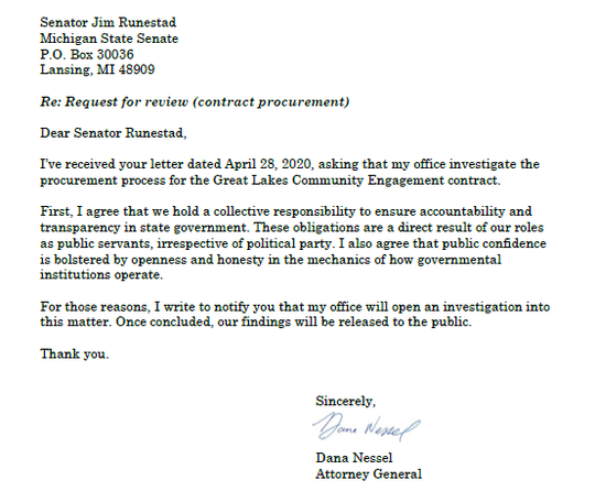 Attorney General Dana Nessel's office released this letter on Thursday, April 30, 2020.
