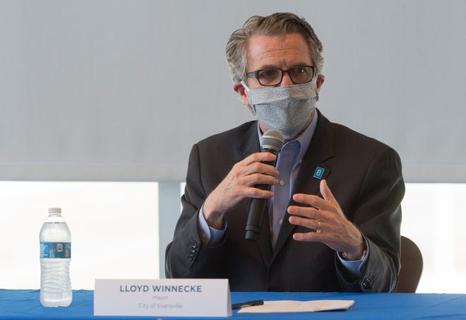 Evansville Mayor Lloyd Winnecke was among a panel of community and health officials at Deaconess Orthopedic and Neuroscience Hospital Thursday talking about a new large-scale testing effort being undertaken in Evansville.