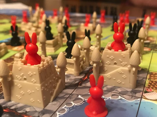 Bunnys take over a grid territory map in the board game Bunny Kingdom. Taima Kern and her mother have played 46 rounds of the game since the safer-at-home order went into effect.