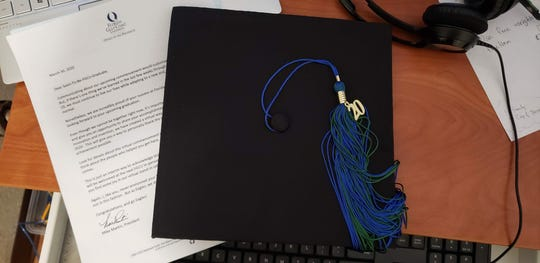 Cesar Hernandez Isidro graduates Sunday during a virtual ceremony for Florida Gulf Coast University. Here is a photo of the cap and tassel sent to his parents for the occasion.