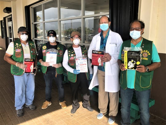 The Guahan Lions Club recently donated personal protective equipment to GMH. From left: Guahan Lions Club President Romy Arias, Edmund Batapa, Ron Hidalgo, Dr. John Ray Taitano and Nestor Catangay.
