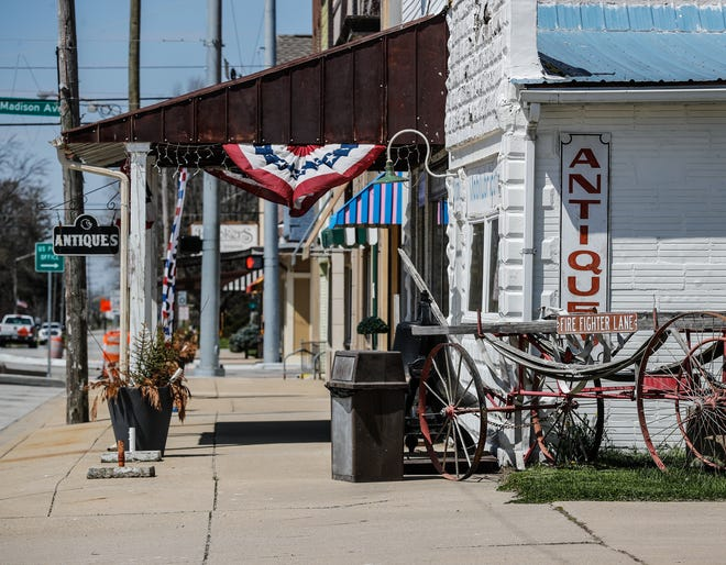 The many antique stores lining Main Street sit closed during the COVID-19 pandemic, Monday, April 20, 2020.