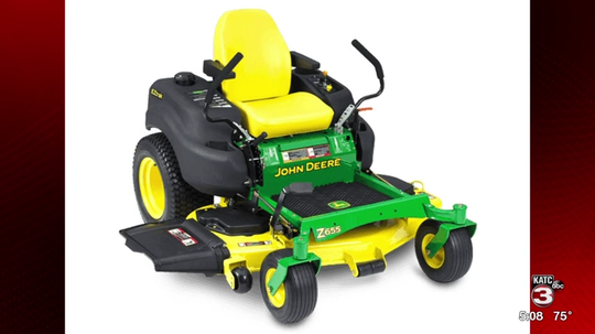 The St. Landry Parish Sheriff's Office is searching for the person who stole a trailer with a John Deere riding lawnmower inside from KZ Crawfish.