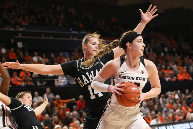 Hawaii's Lauren Rewers (14) defends Oregon State's Kennedy Brown during a game in Corvallis, Ore., Friday, Dec. 6, 2019. Rewers recently signed with Michigan State women's basketball as a transfer.