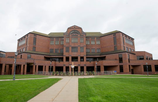 The campus at Marquette University is empty and closed during the coronavirus pandemic.
