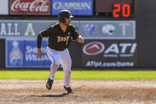 Troy infielder and All-Sun Belt performer Drew Frederic in action.