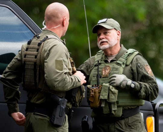 Prattville police Chief Mark Thompson as a multi department law enforcement raid is held on a farmhouse in Prattville, Ala., on Thursday morning April 30, 2020.