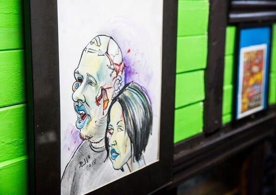 A zombie caricature of Ashley and Mitch Campbell at Obscura Tattoo and Oddities APril 29, 2020.