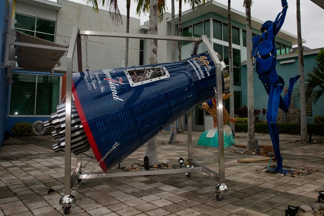 A time capsule shaped as a space capsule is pictured on Thursday, April 30, 2020, at the Marco Island Center for the Arts. The Marco Island Center for the Arts is accepting submissions for the time capsule, which will be sealed for 50 years.