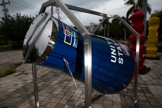 A time capsule shaped as a space capsule is pictured on Thursday, April 30, 2020, at the Marco Island Center for the Arts. The Marco Island Center for the Arts is accepting submissions for the time capsule, which will be sealed in 2021 for 50 years.