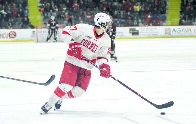 Cornell's Morgan Barron looks for the pass during their game against Colgate at Cornell University in Ithaca, NY, Saturday, Jan. 26, 2019.