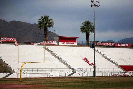 Palm Springs High School football field sits empty and closed during the coronavirus pandemic on Thursday, April 30, 2020 in Palm Springs, Calif.