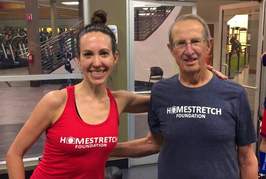 Former professional cyclist Kathryn Bertine, left, and her father Peter still work out together. Growing up, they lived in the house now owned by NFL commissioner Roger Goodell that served as 2020 NFL draft central.
