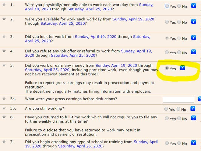 An online application for weekly unemployment benefits is missing an important answer.