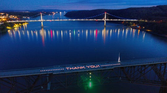 The Walkway Over the Hudson State Historic Park organized a light display thanking workers amid the coronavirus pandemic.