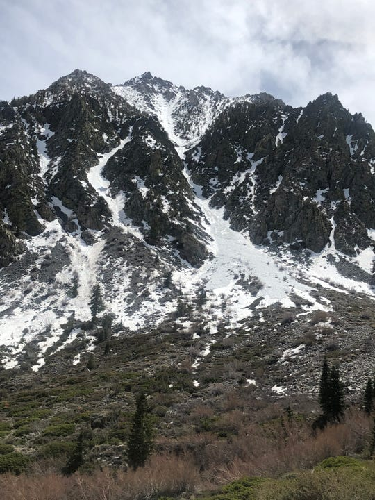An avalanche on Independence Peak in Inyo County, Calif., carried two skiers and injured one on April 29, 2020.