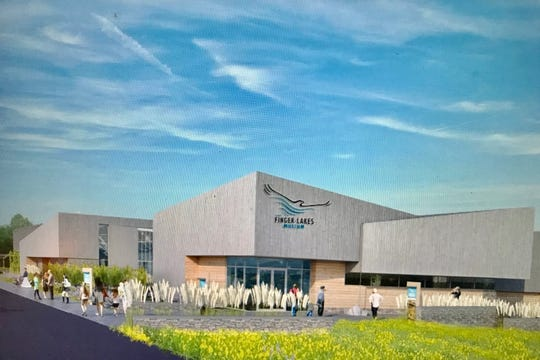 Architectural rendering of the Finger Lakes Museum's proposed main building. It repurposes the former Branchport Elementary School and will feature more than 22,000 square feet.