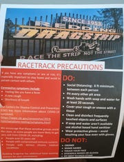 A notice of race precaution rules at the Redding Dragstrip.