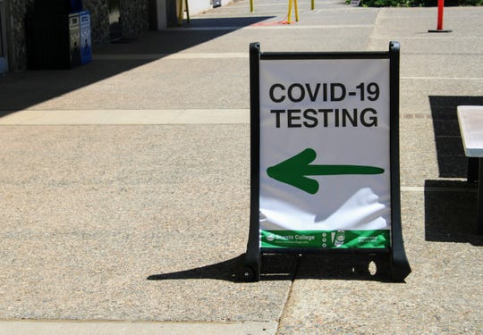 Coronavirus testing began at Shasta College on Thursday, April 30, 2020. One of the site's workers, Mckenna Adams, provided a test demonstration for reporters.