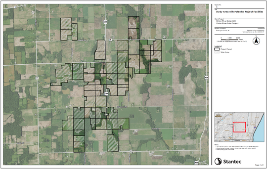 An initial project map shows properties that have been offered (outlined in black), and areas where Ranger Power anticipates requesting permission to locate solar arrays (diagonal white lines). The facility locations reflect the results of initial analysis of environmental features and other constraints.