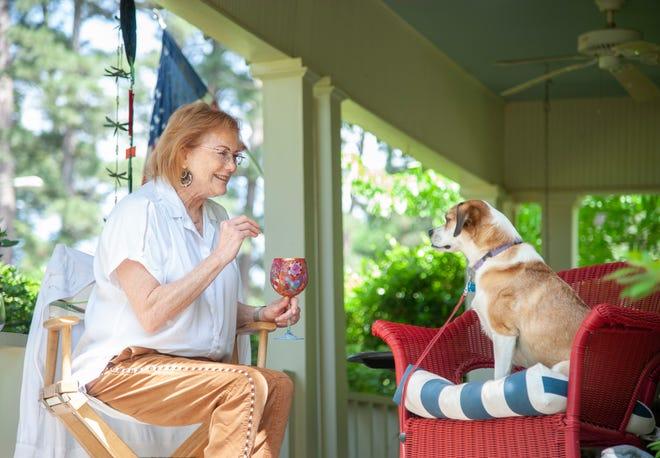 Annie Mills with her dog.