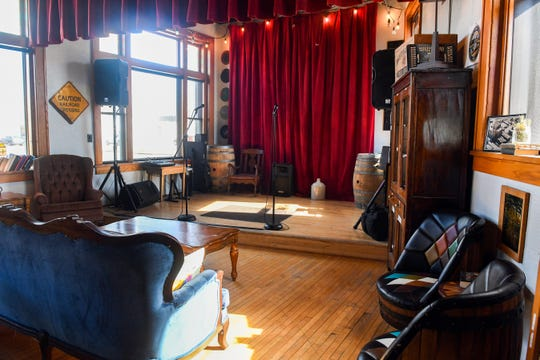 A stage is set up for live music in the 21-and-up bar side of Books N Brewz on Thursday, April 30, in Sioux Falls.