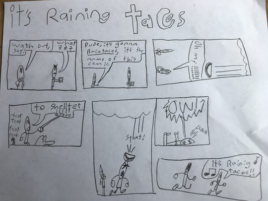 """""""It's raining tacos,"""" a comic by William Korman, features two men attempting to escape a sudden downpour of Mexican food."""
