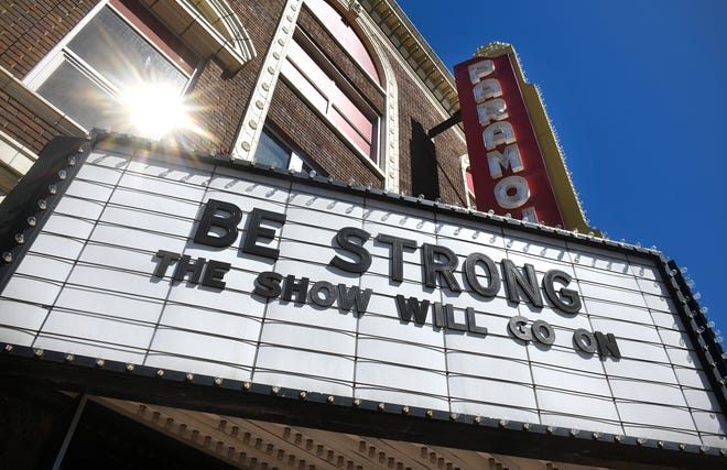 The Paramount Theatre marquee displays a message of encouragement Thursday, April 30, 2020, in downtown St. Cloud.