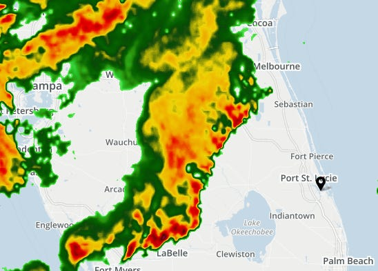 Cold front moving across Florida bringing with it some strong thunderstorms.
