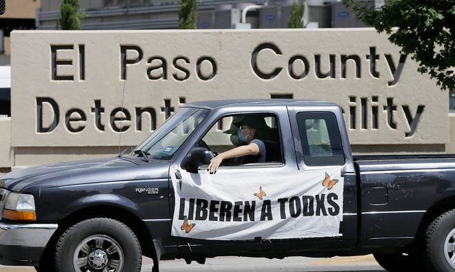 Border Network for Human Rights organized a small drive-by protest Thursday outside the El Paso County Detention Center. They were urging for the release of all prisoners locked up at the facility who are at risk of contracting coronavirus. .