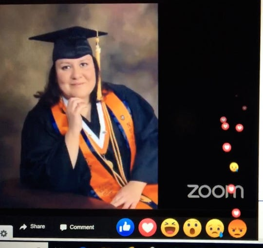 "Emoji hearts float up during the song ""Amor Eterno"" in a screen image of an online virtual vigil on April 29, 2020, for El Paso registered nurse Karla Dominguez, who tested positive for COVID-19."