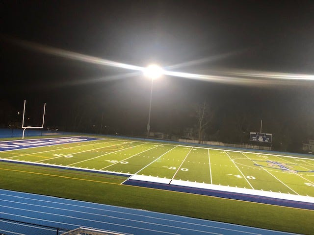 The lights have been on each of the last two Fridays at Hendrick Hudson High School to honor the Class of 2020 and community members involved with the daily COVID-19 battle.