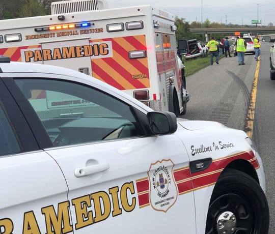 New Castle County Paramedics responding to a crash on I-95  at I-495 just south of Wilmington at 4:25 p.m.