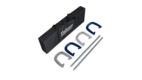 Play and win with this horseshoe set.