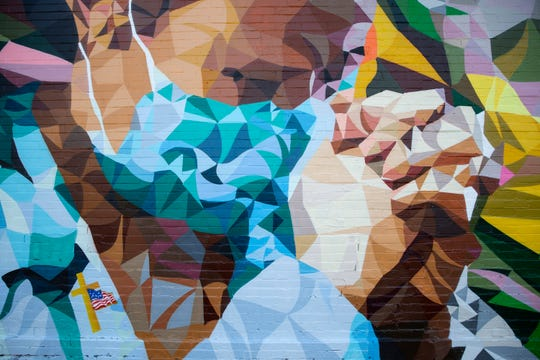 A mural in Milwaukee honors medical workers on the front lines during the coronavirus pandemic.