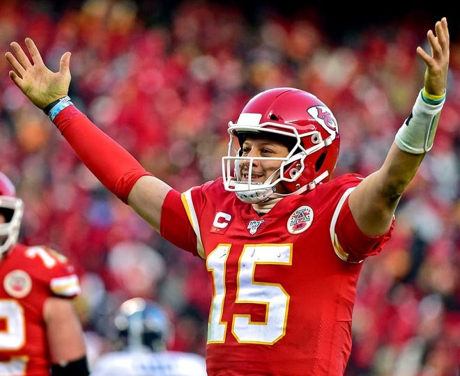 Kansas City Chiefs quarterback Patrick Mahomes reacts after a touchdown pass.