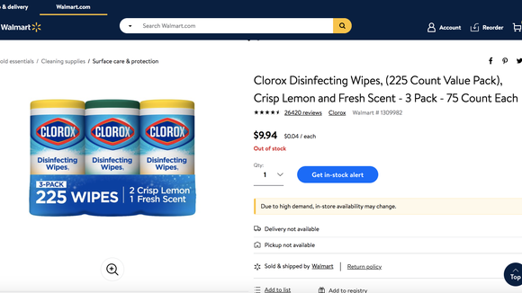 Walmart offers an in-stock alert, so you'll know exactly when cleaning wipes are back in-stock.