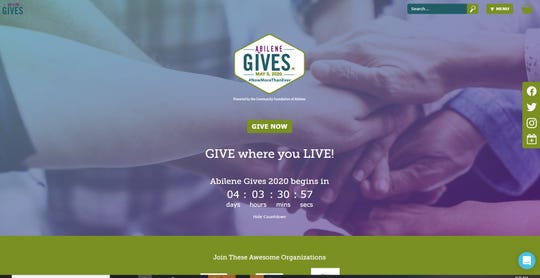 The Abilene Gives website, abilenegives.org, counts down Friday morning in the days before the mass online fundraiser, which starts Tuesday.