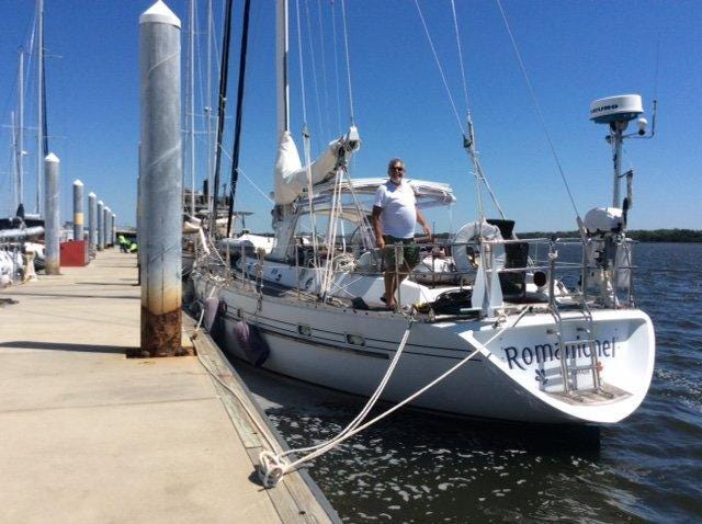 The sailboat Romanichel, which left Palm Beach April 29, 2020, was reported stranded at sea off the Space Coast, with one of three people overboard, the U.S. Coast Guard said on Thursday, April 30, 2002.