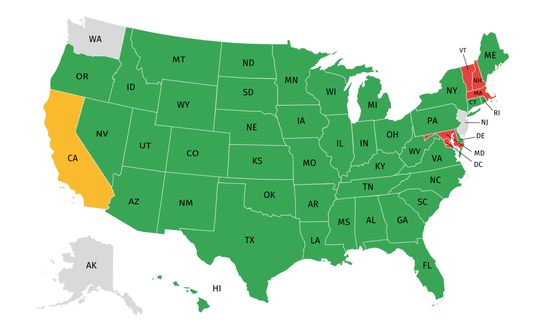 A map created by the National Golf Foundation shows states, as of May 1, where golf can and can't be played. Green states allow the sport, yellow states have localized restrictions, gray states are pending changes and red states have prohibited play.