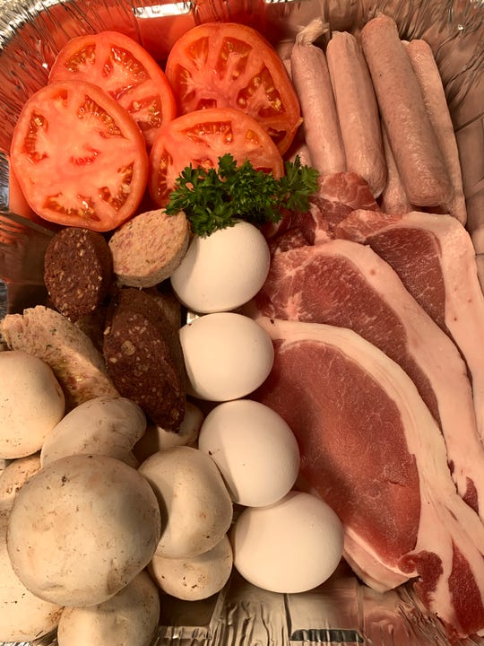 The British Chip Shop in Haddonfield features a takeout English breakfast to be made at home for Mom and family members on Mother's Day. It includes bangers, eggs, mushrooms and English bacon.